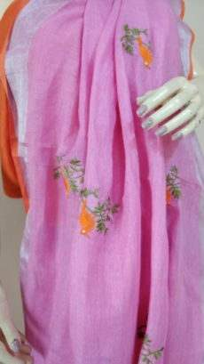 Orange Pink Linen Saree With Silver Border | YesPoho-yespoho