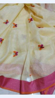 Light Yellow Linen Saree Butterfly Design Pattern With Pink Border-yespoho