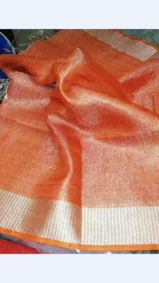 Orange Tissue Linen Saree