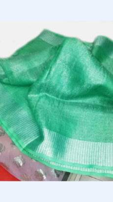 Teal Green Tissue Linen Saree