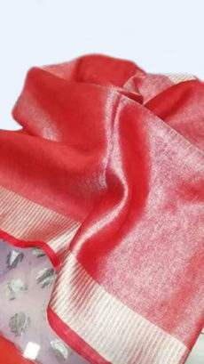 Coral Red Tissue Linen Saree