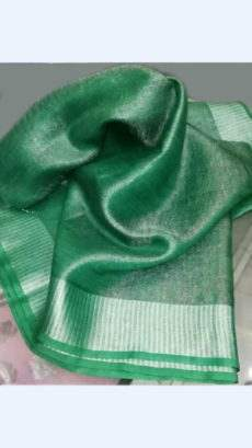 Dark Green Tissue Linen Saree