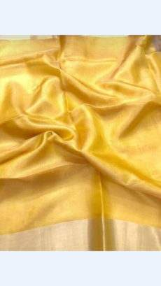 Bright Yellow Tissue Linen Saree With Golden Border-yespoho