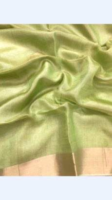 Light Green Tissue Linen Saree