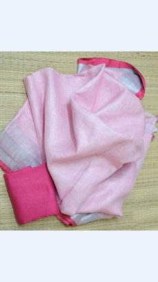 Light Pink Linen Saree with Plain Pallu