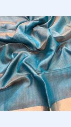Sea Blue Tissue Linen Saree With Golden Border-yespoho