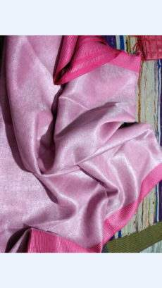Baby Pink Tissue Linen Saree with Plain Pallu