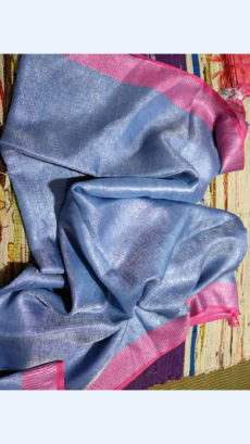 Light Greyish Blue Tissue Linen Saree