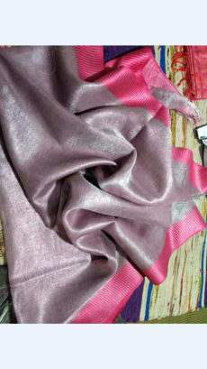 Light Pink Grey Tissue Linen Saree