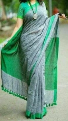 Light Grey and Green Linen Saree-yespoho
