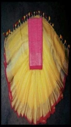 Yellow and Pink Linen Saree with Golden Border-yespoho