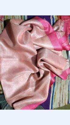 Peach Tissue Linen Saree With Magenta Border