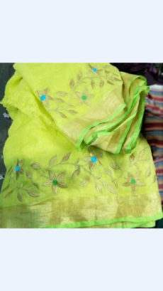 Green Linen Saree with Gold with thin Fluorescent Green Border-yespoho