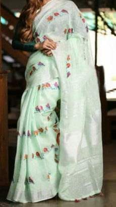 Aqua Green Linen Saree with Silver border-yespoho