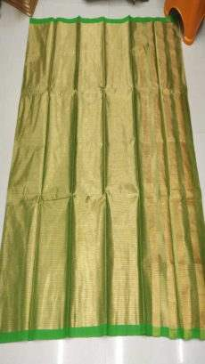 Light Green & Gold Cotton Tissue Saree-yespoho