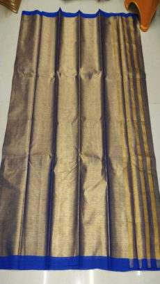Dark Blue & Gold Cotton Tissue Saree-yespoho