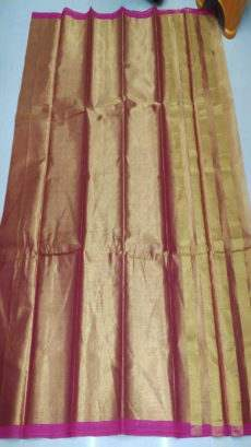 Pink & Gold Cotton Tissue Saree-yespoho