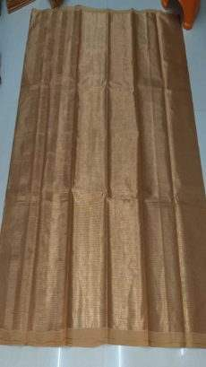 Light Brown & Gold Cotton Tissue Saree-yespoho