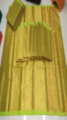 Fluorescent Green & Gold Cotton Tissue Saree-yespoho