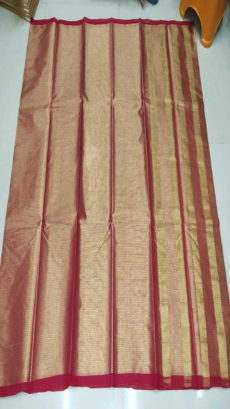 Maroon & Gold Cotton Tissue Saree-yespoho