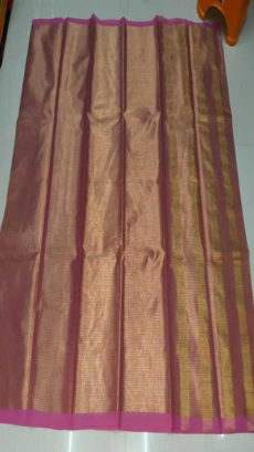 Purple & Gold Cotton Tissue Saree-yespoho
