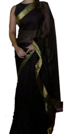 Black Linen Saree with Gold and Green border-yespoho