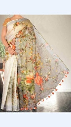 White Silver Digital Linen Saree With Floral Design-yespoho
