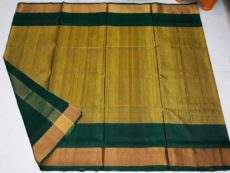 Dark Green Uppada Soft silk saree With Golden Pallu-yespoho