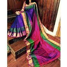 Violet Green Double Border Uppada Saree-yespoho