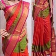 Orange, Peach & Green Double Border Uppada Soft Silk Saree-yespoho