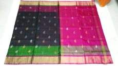Black Green Double Border Uppada Saree With Butta Design-yespoho