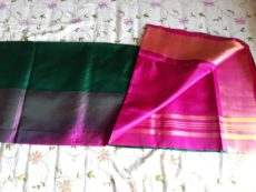 Dark Green and Magenta Uppada Saree-yespoho