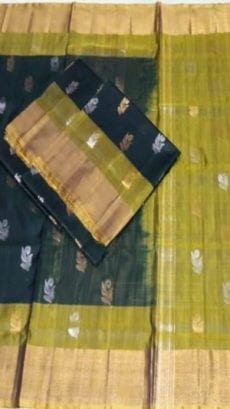 Bottle Green Uppada Soft Silk Saree with Full Body Butta-yespoho