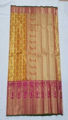 Yellow Kanchipuram Pure Tissue Silk Saree-yespoho