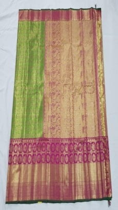 Green Jhumka Design Pure Kanchipuram Tissue Silk Saree-yespoho