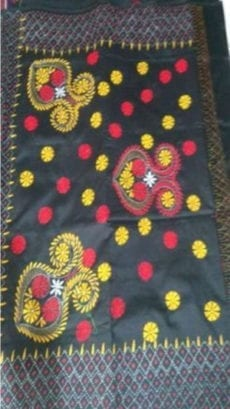 Black Malay Silk Saree with Yellow Blue Embroidery work-yespoho