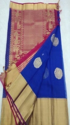 Pure Organza Kora Blue Kanchipuram Saree-yespoho