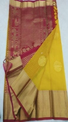Pure Organza Kora Yellow Kanchipuram Saree-yespoho