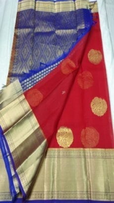 Pure Organza Kora Red Kanchipuram Saree-yespoho