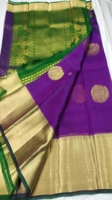 Pure Organza Kora Purple Kanchipuram Saree-yespoho