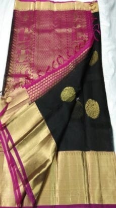 Pure Organza Kora Black Kanchipuram Saree-yespoho