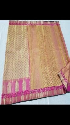 Cream Pink Kanchipuram Pure Tissue Silk Saree-yespoho