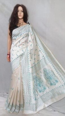 White Malay Silk Saree with blue Embroidery work-yespoho