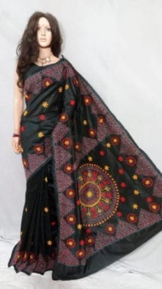 Black Malay Silk Saree with Embroidery work-yespoho