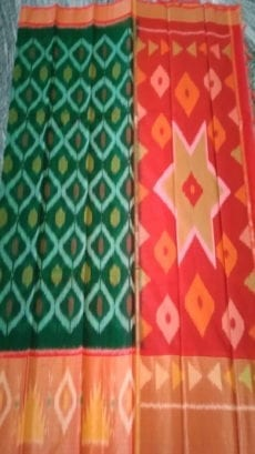 Dark Green and Orange pochampally silk cotton saree-yespoho