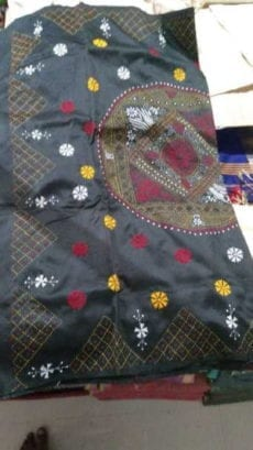 Black Malay Silk Saree with White Yellow Floral Embroidery work-yespoho
