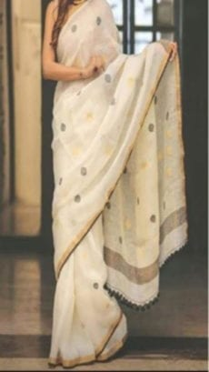 Off White Jamdani Linen Saree With Golden & Black Butta Design-yespoho