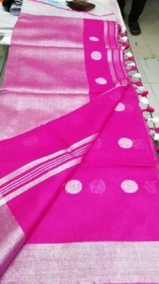 Dark Pink with Silver Jamdani Linen Saree-yespoho