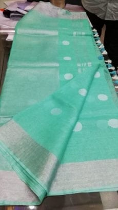 Aqua Green with Silver Jamdani Linen Saree-yespoho
