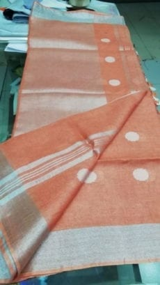 Peach with Silver Jamdani Linen Saree-yespoho